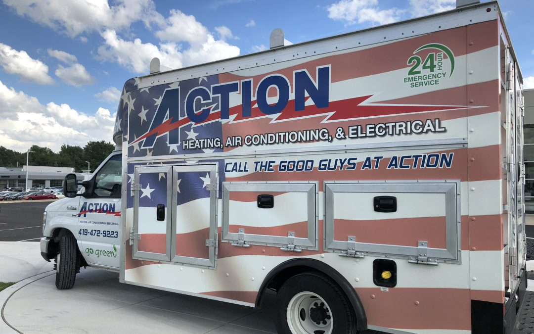 Action Heating and Air Work Truck Graphics